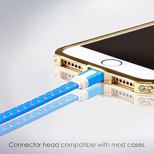 Jet Nylon Shorts (Lightning Kabel - 1m, Blau, geflochten flach - Sehr schnelles iPhone 7 Ladekabel - verstärktes USB Datenkabel mit Knickschutz - Für Apple iPhone 7 6 5, iPad, iPod - SWISS-QA Geldrückgabe Garantie)