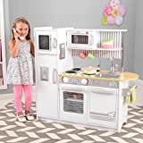 KidKraft 53364 Uptown White Play Kitchen. Wooden kids play kitchen with interactive appliances, including doors that open and close, knobs that turn and click and a working chalkboard.