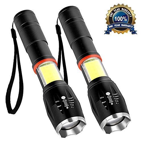 RegeMoudal LED Taschenlampe, Superhelle Zoombar Taschenlampe [2 Stück] mit 6 einstellbare Modi,COB Seitenlicht,800 Lumens Wasserfest super leichte Taschenlampe für Camping/Wandern/Radfahren/Notfall (Starke Lumen Taschenlampe)