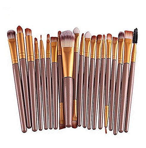 Gespout 20PCS Pinceau de Maquillage Femme Différents Styles Professionnel Maquillage Outils Ombre des yeux Blush (Jaune)