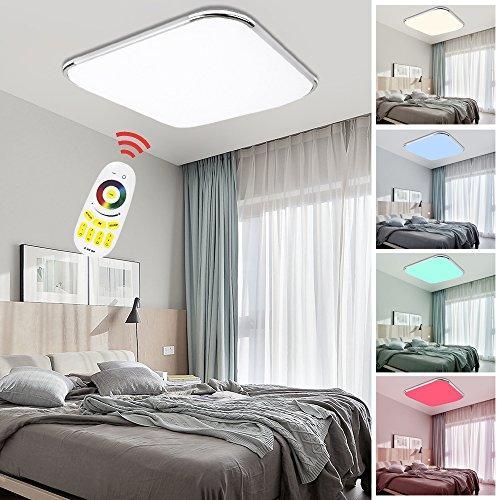 Hengda® LED Deckenleuchte RGB Mit Fernbedienung Lichtfarbe und Helligkeit einstellbar Moderne Esszimmer Deckenbeleuchtung Badezimmer geeignet [Energieklasse A++]