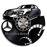 HMer Wanduhr Schallplatten Vinyl Mercedes Benz Logo Vinyl Material Schwarze Kleber Rekord Wanduhr Weihnachts Geschenk