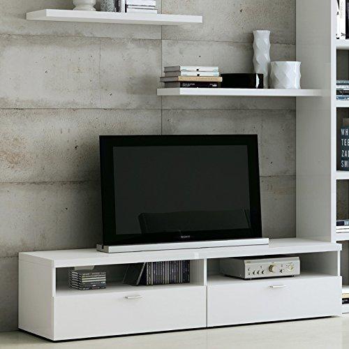 Wohnzimmer Wohnwand Hochglanz wei Fernsehschrank Lowboard CD Regal Anbauwand - 3