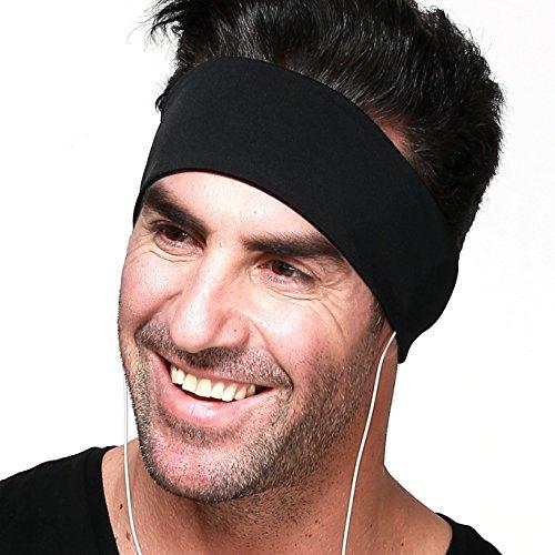 Sport-Kopfhörer / Mehrfunktional Kopfhörer / Polyester-Stirnband mit abnehmbaren integrierten Kopfhörern für Fitness und Sport (Schwarz)