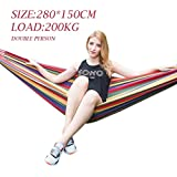 Baskety Portable Outdoor Hammock Hang Bed Travel Camping Swing Canvas with Backpack (RED 280*150 cm (2 Person) 200 kg)