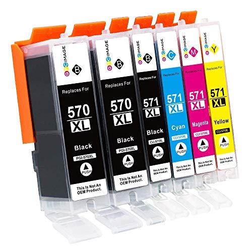 GPC Image PGI-570XL CLI-571XL Cartucce d'inchiostro Compatibile In sostituzione di Canon 570 XL 571 XL per Pixma MG5750 TS5050 MG5751 MG6850 TS5051 TS6050 (2 PGBK,1 Nero,1 Ciano,1 Magenta,1 Giallo)