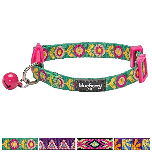 blueberry-pet-pack-of-1-cat-collar-ethnic-inspiration-embroidered-flora-pattern-adjustable-breakaway