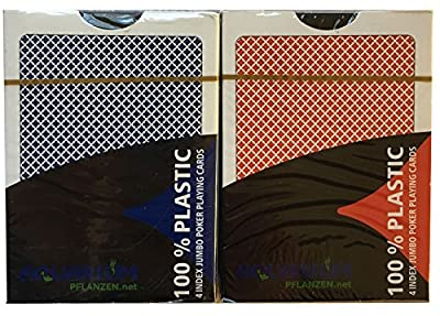 2 x cartes en plastique x 100%, poker, Index Grand, 4 symboles