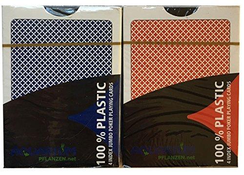 Preisvergleich Produktbild 2 x 100% Plastikkarten, Pokerkarten, Poker, Großer Index, 4 Symbole + Cutcard