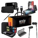 ORZLY® Ultimate Pack Accesorios para Nintendo Switch [Incluye: Protectores de Pantalla, Cable USB, Funda para Consola, Estuche Tarjetas de Juego, Funda Comfort Grip, Auriculares] – Negro