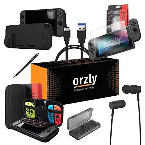 ORZLY Ultimate Pack Accesorios para Nintendo Switch [Incluye: Protectores de Pantalla, Cable USB, Funda para Consola, Estuche Tarjetas de Juego, Funda Comfort Grip, Auriculares] – Negro