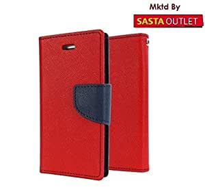 Apple iPhone 6 Plus Mercury Flip Wallet Diary Card Case Cover (Red) By Wellcare