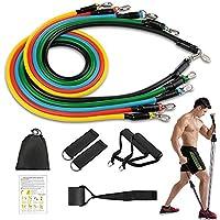 Johiux Bandas de Resistencia Fitness/Gomas Elasticas Fitness, 5 Tubos de Ejercicios, con Asas, Correas de Tobillo y Anclaje, para Culturismo,Rehabilitación, Yoga e Pilates, Gimnasio en casa