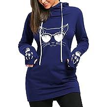 Mujer Camisa Vestidos Mangas largas pullover largos sólido slim fit Sudadera Vestido con capucha casual Suéteres Tops Hibote