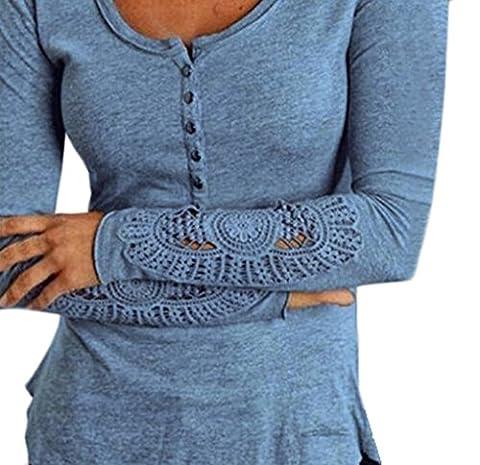 Frauen Langarmshirts Mit Spitze Hohle Elegant Große Größen Langarm Rundkragen Slim Mit Knöpfen Beiläufige T-Shirts Blusen Oberteil Tops Mehrfarben