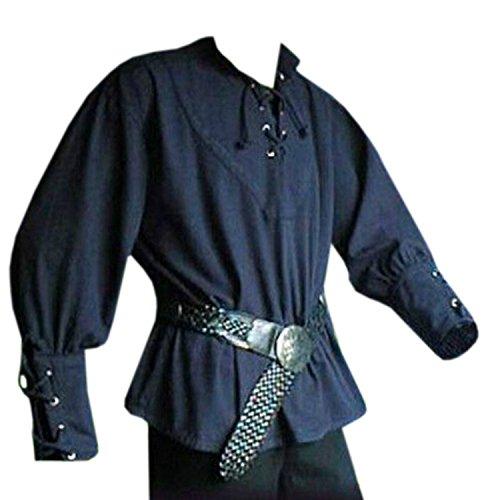 Dichter Tunika Top (Lynwitkui Herren Mittelalterkostüme Piratenhemd Cosplay Langarm Schnürung Vintage Viking Bluse Tops - Blau - XXX-Large)