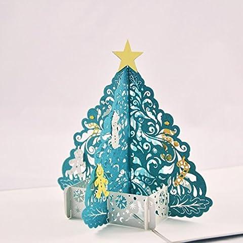 Albero di Natale turchese, miracolo di matrimonio, biglietto buono, buono regalo da viaggio biglietto tridimensionale, invito, buono scheda, biglietti di invito, scheda per anniversario,, Carta regalo, regalo, compleanno scheda