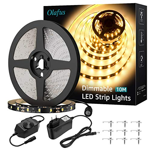 Olafus 10m striscia led bianco caldo 3000k dimmerabile 600 leds, strip led flessibile 12v sicuro da uso alimentatore incluso, per armadio camera scale tv arredo