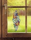 Plauener Spitze Fensterbild Schmetterlingstanz (BxH) 15 x 39 cm inkl. Saughaken Fensterdeko
