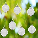 6 x WEIß Papierlaterne LED Lampion Lampions Laterne Garten Ballon Papierlampion
