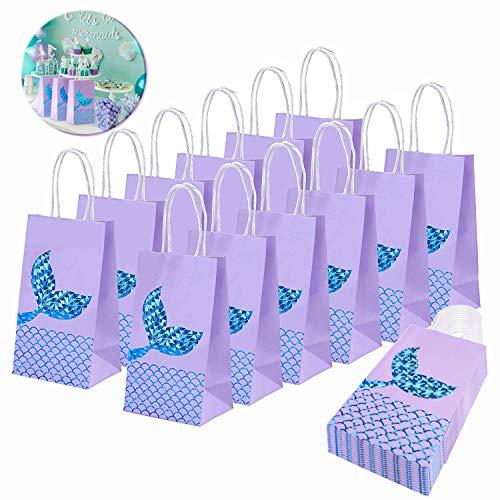 INTVN 16 Stück Geschenktüten Geschenktaschen Meerjungfrau Präsenttüten Papiertüten Papiertaschen Tüten Papier Tragetaschen mit Griff Cartoon Meerjungfrau Motiv (11.7*8*20cm, Blau)