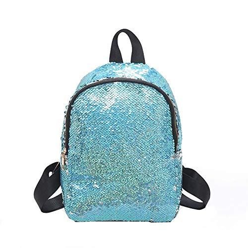 KTENME Pailletten Schulranzen Tasche Hoch Kapazität Glanz Rucksack Freizeit Tasche für Strand Reisen Bergsteigen Schule, blau (Schwarz) - 7ZHNTIJI0K -