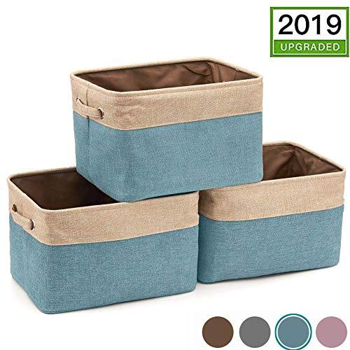 MANGATA Extra Large Faltbare Stoffbox (42 × 32 × 25 cm), Canvas Aufbewahrungskorb mit Griffen für Regale, Kleidung, Spielzeug (3er-Set, Blau)