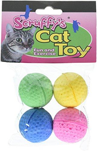 BOSS Pet 04467Scruff 's Colorful Kitty federnd Schaumstoff Schwamm Bälle (4Stück) (Katze Spielzeug Federnd)