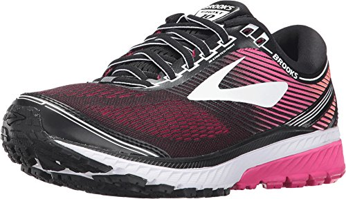 Brooks Women's Ghost 10 Black/Pink Peacock/Living Coral 11.5 AA US