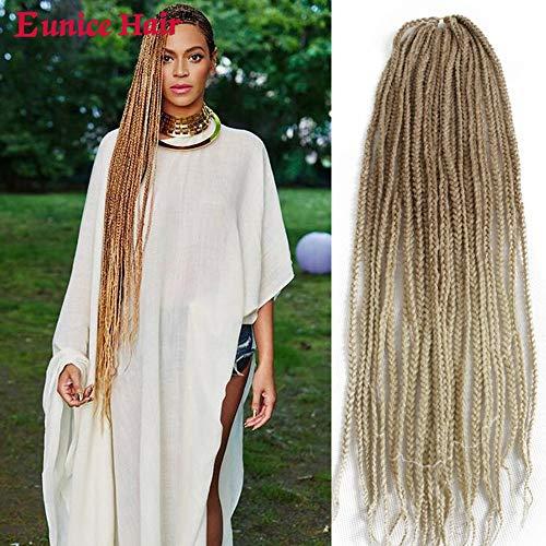 6 Packs Eunice Lange Flechten Hair Extensions 30 Inch Kunsthaar Haar für Crochet Box Zöpfe 120g/PC Kunsthaar Braids Haarverlängerung 22 Wurzeln/Pack(27/613) (Purple Hair Light Extensions)