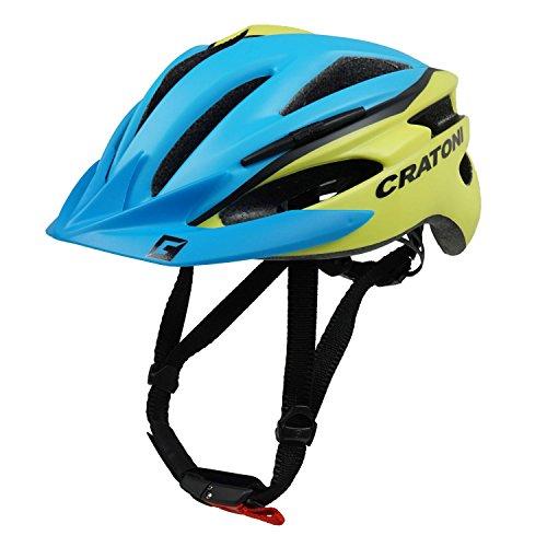 Fahrradhelm Helm Cratoni Pacer. blue-lime matt - Visier blau. Gr. XS-S (49-55 cm)