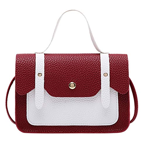 LILIGOD Umhängetasche Frauen Kontrastfarbe Handbag Schultertasche Münztasche Leder Rucksack Tragbar Messenger Bag Women Hasp Hit Color Shoulder Tasche Shopper Party Wedding Coin Phone Bag -