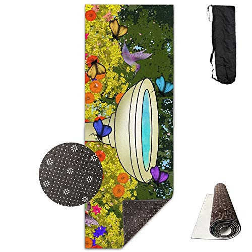 FGRYGF Butterfly and Hummingbird Gardens Yoga Mat - Yoga Matte - Non-Slip Lining - Easy to Clean - Latex-Free - Lightweight and Durable - Long 180 Width 61cm -