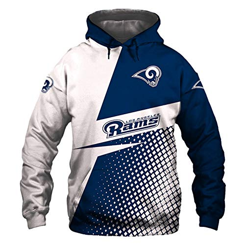 TTH-13 Rugby Hoodie Männer - NFL Los Angeles Rams Jersey 3D Printing Sweatshirts Langarm Pullover Trainingsshirt Für Herbst-Winter,5XL