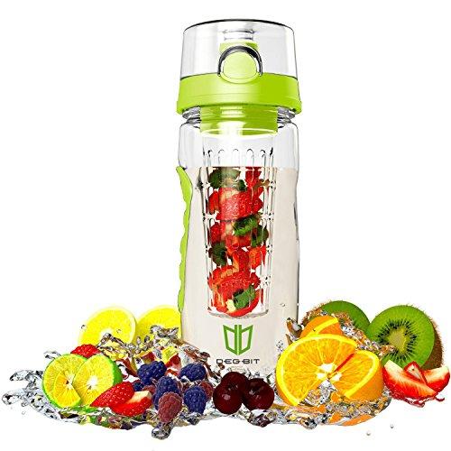 Image of Wasserflasche, DEGBIT® [BPA-freiem Tritan] Kunststoff Trinkflasche Sport, Flasche ca. 1L, Sportflasche Auslaufsicher, Trinkflaschen BPA Frei Infuser mit Verschluss & Tragehenkel, Wasserflasche Grün