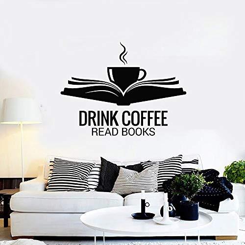 xinyouzhihi Lustige Wandtattoo Für Cafe Offenes Buch Tasse Trinken Kaffee Lesen Buch Vinyl Wandaufkleber Dekor Esszimmer Lesesaal 75x99 cm