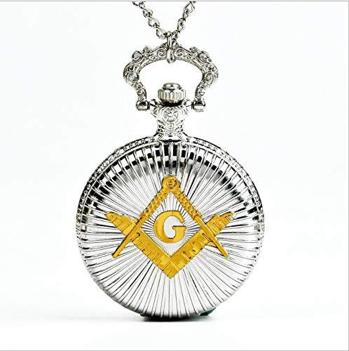 Retro Quarz Taschenuhr Vintage Männer Frauen Anhänger Halskette Antik Schmuck Silber mit Gold G Wort