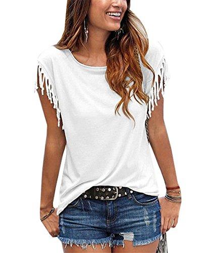DaBag T-Shirt Donna Estivi Maglietta Elegante Con Le Nappe Blusa Senza Maniche Casuali Tops Puro Colore Camicetta Di Base Blouses Bianco