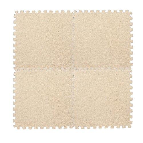 Puzzlematten,Setsail 1 PC Bodenschutzmatten Kinder Teppich Schaumstoff Puzzle Matte Shaggy Samt Baby Matten (Beige, 30 * 30 cm)