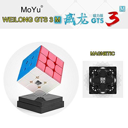 moyu FunnyGoo WeiLong GTS3M GTS 3M Magnet Magic Speed Cube mit Einer Würfeltasche und Einem Würfelständer (Stickerless)