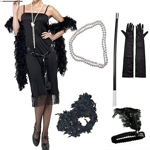 5 STÜCKE 1920 s Flapper Girl Set Party Kostüm Vintage Zubehör Feder/elastische Pailletten Stirnband/Halskette/Polyester Handschuh/Kunststoff Zigarettenspitze (Zubehör Für 1920 S Party)