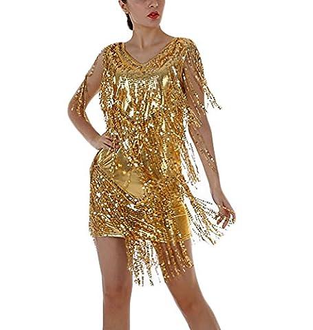 Damen Abendkleider Mit Pailletten Cocktail Partykleider Cocktailkleid Quaste Glitzer Kurz V-Ausschnitt Ärmellos Hipster One