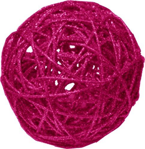 Chaks 0612-85, Sachet 1 Boule rotin Paillettes 12cm, Fuchsia