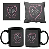 YaYa Cafe Anniversary Birthday Gifts For Husband, You And Me Together Forever Coffee Mugs For Husband Gift Combo Hamper Set Of 3 With Mug, Cushion Cover, Coaster, Black