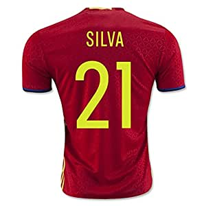 2016 2017 UEFA Euro Cup Spanien 21 David Silva Home Football Soccer Jersey in Rot
