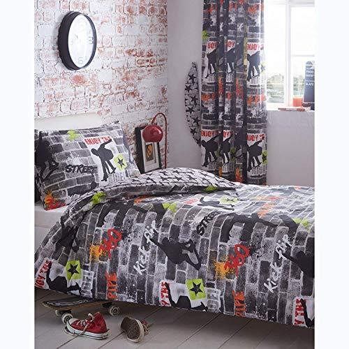 Kidz Club Lit Simple Housse de Couette et taie d'oreiller Parure de lit pour Adolescents Skateboards et Graffitis – Gris