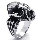 Beydodo Modeschmuck Edelstahl Ring Männer Dinosaurier Schädel Totenkopf  Ring für Ihn Schwarz Silber Ringgröße60 (19.1)