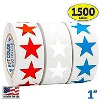 "1"" Star Shape Foil Sticker Labels, 500 Labels per Roll, 1 Roll, 1 Inch Diameter"
