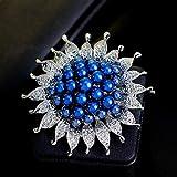 Ludage Exquis Écharpe de Mode Broche Perles en Alliage Broche Broche Soleil Filigrane Fermoir Broche Strass