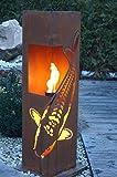 Feuersäule Koi Edelrost Rost Metall Gartendeko Garten Stele Fackel Feuer